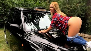 Hot Blonde on Taxi Cab Bonnet - Fake Taxi