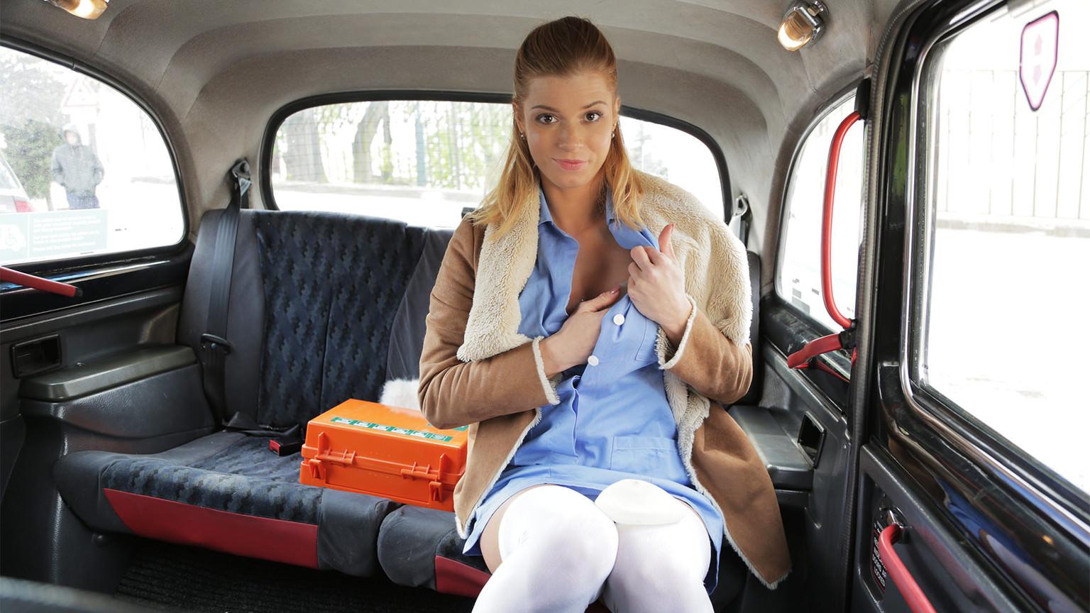Nurse in Sexy Lingerie has Car Sex - Fake Taxi