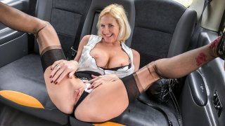 Older lady's big pussy lips opened - Fake Taxi