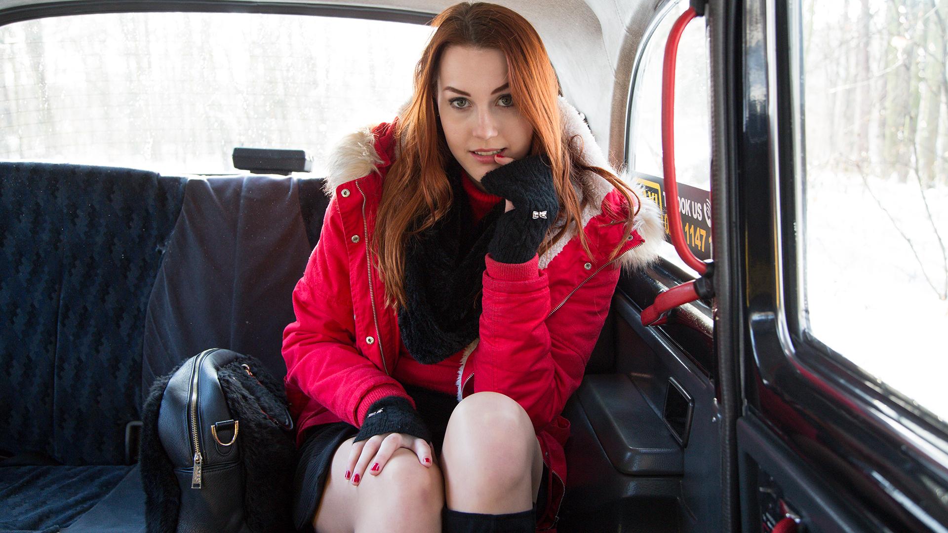 Cute Redhead striptease and fuck - Fake Taxi