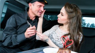 Steak & Blowjob Day hot fuck in the car with Russian babe Angel Rush - Fucked in Traffic