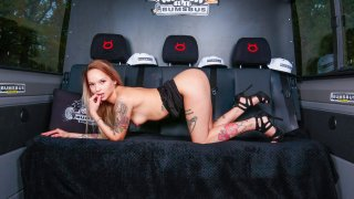 Tattooed girl has sex on the backseat - Bums Bus