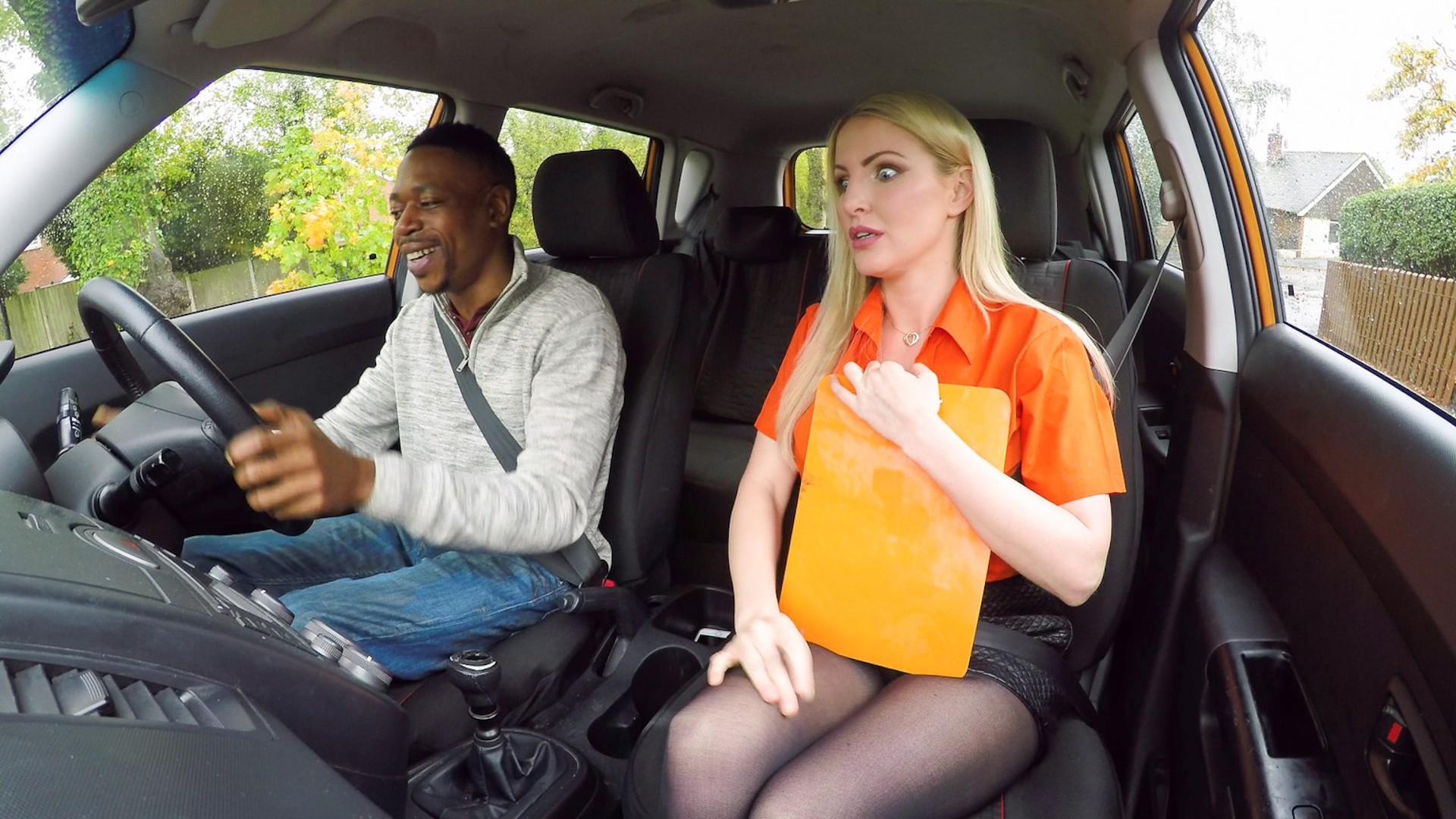 Long black cock pleases examiner - Fake Driving School