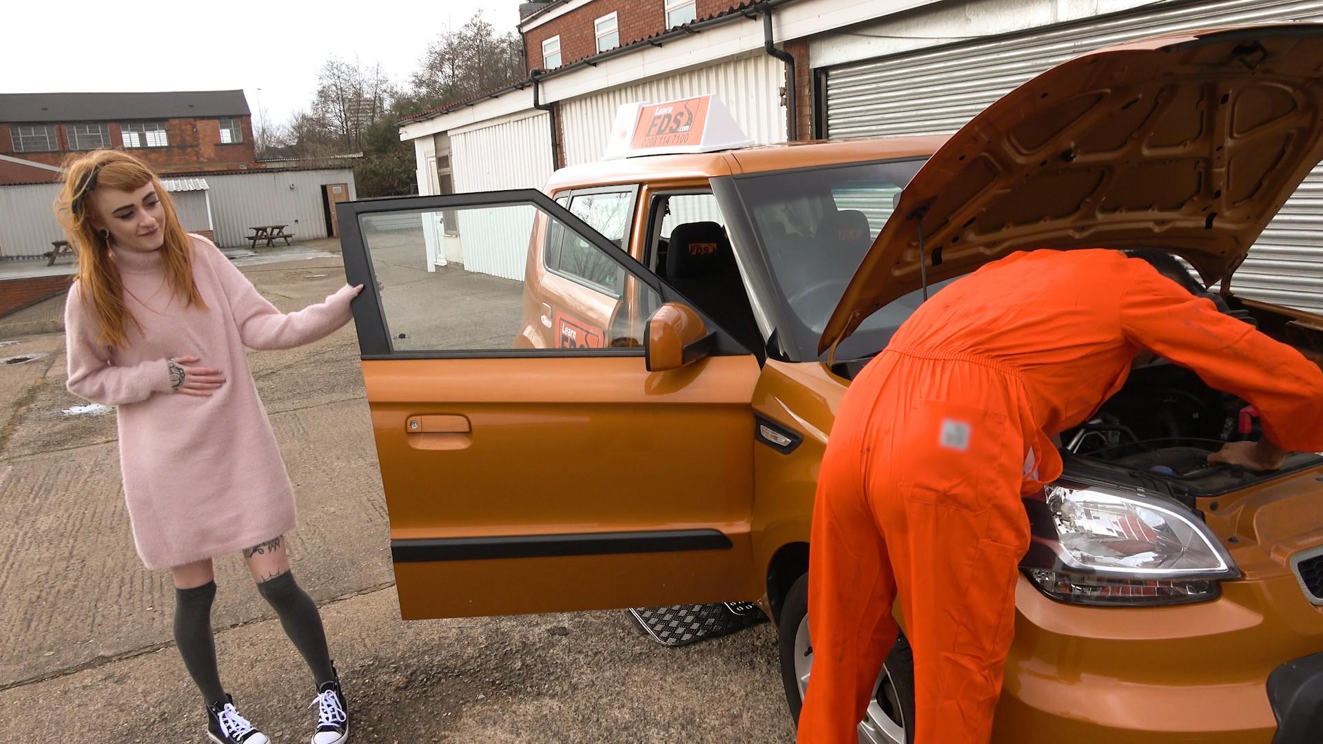 Minx squirts on mechanics big cock - Fake Driving School