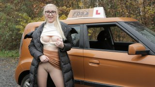 Blonde learner with perfect boobs - Fake Driving School
