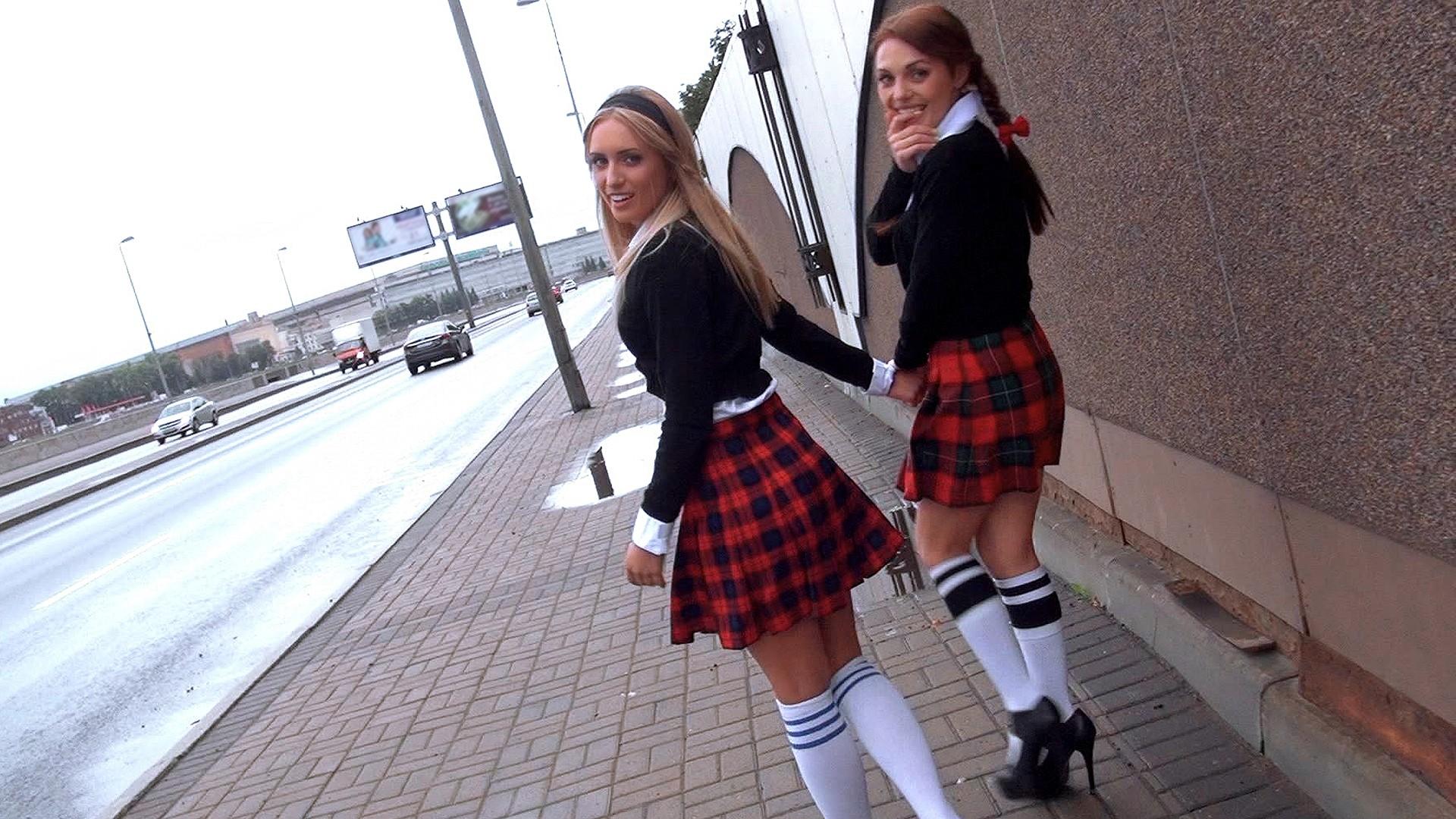 Schoolgirl Threesome - Stranded Teens