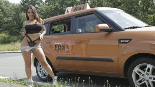 Spanish Babe has Lesson Hijacked - Fake Driving School