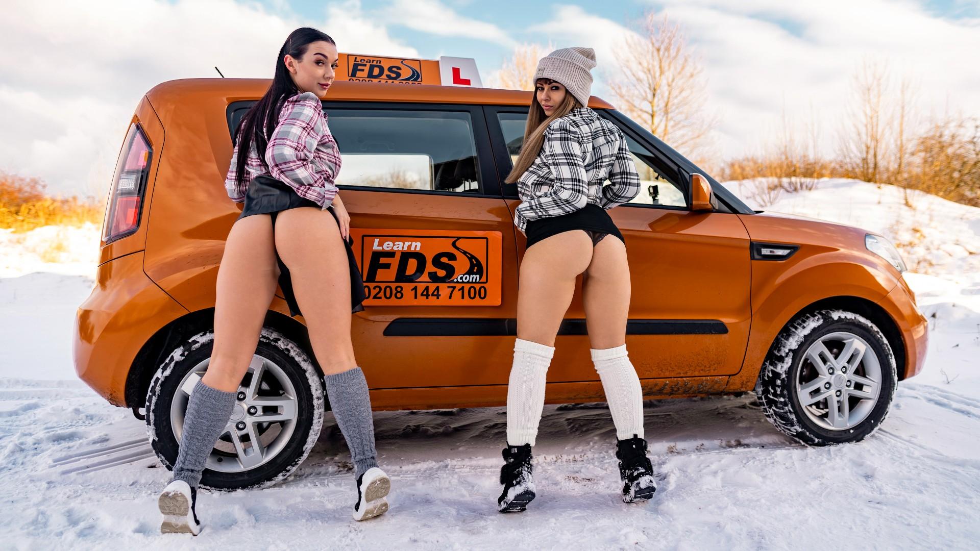 Stuck Between Snow and Big Tits - Fake Driving School
